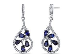 Created Blue Sapphire Dewdrop Earrings Sterling Silver 2.5 Carats