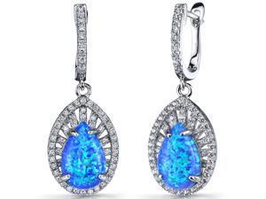 Created Blue Opal Nebula Drop Earrings Sterling Silver 3 Carats
