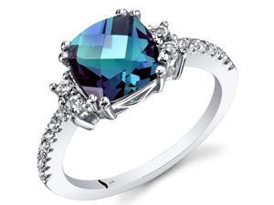 14K White Gold Created Alexandrite Ring Cushion Checkerboard Cut 2.50 Carats Size 5-9