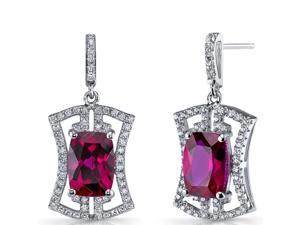 Created Ruby Art Deco Drop Earrings Sterling Silver 6.5 Carats