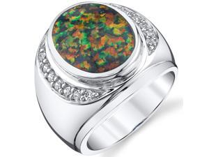Men's Created Black Opal Godfather Ring Sterling Silver Size 8-13