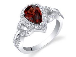 Oravo Garnet Sterling Silver Halo Crest Ring