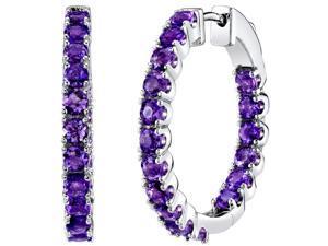 Sterling Silver Amethyst Inside-Out Hoop Earrings 3.5 Carats