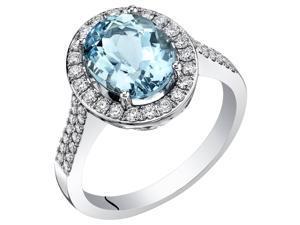 14K White Gold IGI Certified Aquamarine Diamond Ring 3.50 Carats Total Weight Oval Shape
