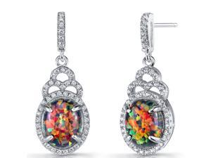 Created Black Opal Harlequin Dangling Earrings Sterling Silver 3 Carats