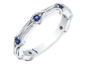 Created Blue Sapphire Stackable Ring in Sterling Silver, 0.32 Carats