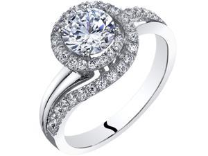 Oravo 14k White Gold Simulated Diamond Engagement Ring 1.00 Carat Center Bypass Style Size 4-10