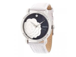 Bertha Daphne Mop Leather-Band Ladies Watch - White Black 8ef2dfc291