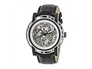 88033f717 Reign Stavros Automatic Skeleton Leather-Band Watch - Silver/Charcoal