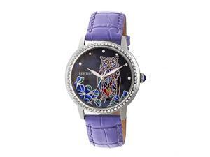 Bertha Madeline Mop Leather-Band Watch - Purple