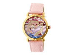 Bertha Estella Mop Leather-Band Ladies Watch - Gold/Pink