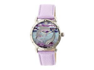 Bertha Estella Mop Leather-Band Ladies Watch - Silver/Lavender