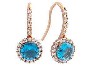 12438fd254d5b8 Bertha Juliet 18k Rose Gold Plated Cubic Zirconia Blue Halo Fashion Earrings