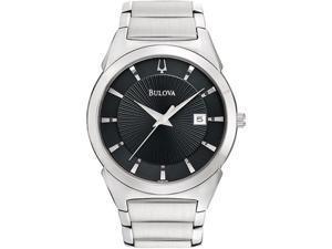 Bulova Steel Bracelet Date Window Black Dial Men's watch #96B149