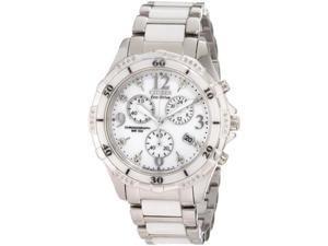 Citizen Eco-Drive Ladies Diamond Chrono White Ceramic Watch FB1230-50A