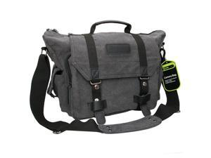 8b85a0463e Evecase Large D-SLR Camera Canvas Messenger Bag with Rain Cover - Gray for  Fuji