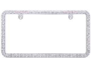 Cruiser Accessories 16330 Elegance License Plate Frame w/Fastener caps, Chrome/Clear