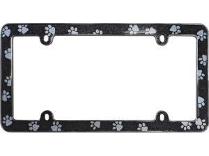 Cruiser Accessories 18630 License Plate Frame Paws Bling, Black/Chrome