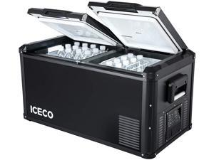 ICECO VL75 Pro Series Portable Refrigerator, Multi-directional Lid, Dual USB & DC 12/24V, AC 110-240V, Steel Compact Refrigerator Powered by SECOP, 0F to 50F, Home & Car Use [Upgrade]