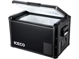 ICECO VL60 ProS Portable Refrigerator, Multi-directional Lid, Dual USB & DC 12/24V, AC 110-240V, 60L Steel Compact Refrigerator Powered by SECOP, 0F to 50F, Home & Car Use [Upgrade, 63 Quarts]