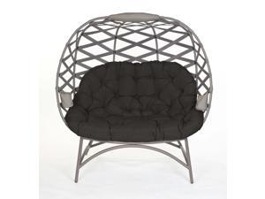 FlowerHouse Sand color Cozy Pumpkin Cross Weave loveseat with black cushion and sand color chair cover FHPC400-XWBLK