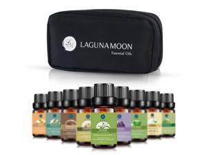LAGUNAMOON™ Fragrance Essential Oils w/ Travel Bag, 10 Pc  Set Pure Aromatherapy Oils: Tea tree, Lavender, Peppermint, Eucalyptus, Sandalwood, Lemongrass, Orange, Chamomile, Jasmine, Vetiver