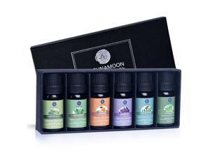 LAGUNAMOON™ Fragrance Essential Oils Gift Set,Top 6 Pure Aromatherapy Oils: Lavender, Tea Tree, Peppermint, Eucalyptus, Lemongrass, Orange