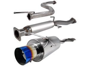 Spec-D Tuning MFCAT2-CV923T-SD 2.5 in. Inlet N1 Style Catback Exhaust System with Burnt Tip for 92 to 95 Honda Civic, 11 x 12 x 45 in.