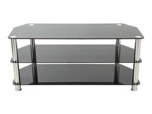 """AVF SDC1000-A TV Stand for up to 50"""" TVs, Black Glass, Chrome Legs"""