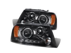 Cg Ford F-150 04-08 Projector Headlight 2 Halo L.E.D Black Clear Amber 02-Az-Ff04-Pbc-Led-2R-A Pair