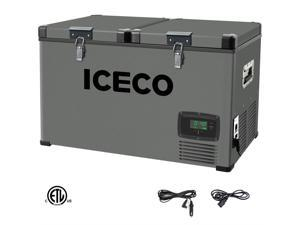ICECO VL60 Portable Refrigerator, Dual Zone Freezer Fridge, 12v Cooler, Platinum Compact Refrigerator, 60Liters, DC 12/24 V, AC 110-240V, 0?~50?, Home and Car Use, for Van, Truck, Outdoor, Camping