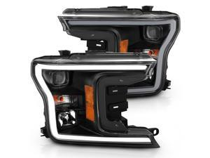 CG Headlights Ford F-150 18 Projector Plank Style H.L. Black Amber (Without Switchback) 02-AZ-FF18-PBC-P-G3-A Set