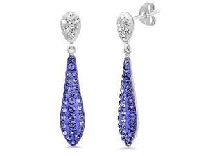 ac731c89b Amanda Rose Sterling Silver Purple Crystal Swarovski Elements Drop Earrings