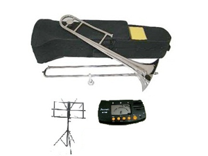 MERANO B Flat Silver Slide Trombone with Case,MouthPiece,Oil,Golves+Free Music Stand,Metro Tuner