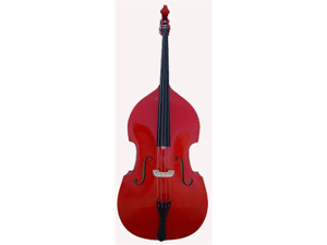 Merano 1/8 Size Red Student Double Bass with Carrying Soft Bag, Bow + Free Rosin