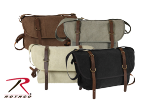 Vintage Canvas Explorer Shoulder Bag with Leather by Rothco