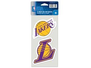 """Los Angeles Lakers Official NBA 4""""x4"""" each Die Cut Car Decal 2-Pack by Wincraft"""