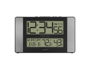 """11"""" Gray and Black Atomic Digital Wall Clock with Temperature and Calendar"""