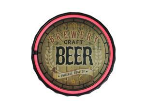 "12.5"" Brown Battery Operated Bottle Cap Neon Wall Sign - Red LED Lights"