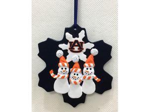 "4"" Orange and Blue Auburn Tigers Logo Snowman Christmas Ornament"
