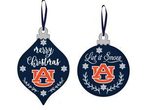 "Set of 2 Vibrant Auburn MDF Christmas Ornaments 4"""