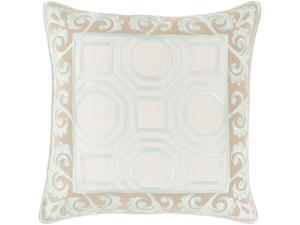 """22"""" Mint Green and Sepia Brown Geometric and Scroll Print Decorative Throw Pillow"""