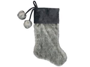 20.5-Inch Gray Faux Fur Christmas Stocking with Corduroy Cuff and Pom Poms