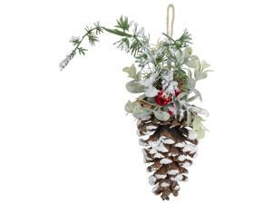 """13"""" Pine Cone with Mixed Foliage, Red Jingle Bells, and Berries Hanging Christmas Ornament"""