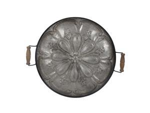 """28.25"""" Brown Ravello Round Tray With Wood Handles"""