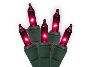 100-Count Purple Mini Christmas Light Set, 50.5 ft Green Wire