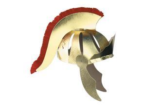 Club Pack of 12 Gold and Red Plume Roman Gladiator Helmet Unisex Adult Halloween Costume Accessory - One Size