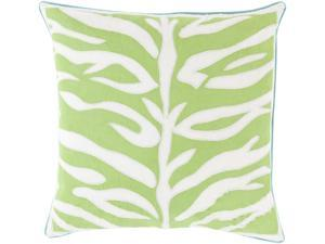 """18"""" Lime Green and Lace White Square Throw Pillow with Blue Trim - Down Filler"""