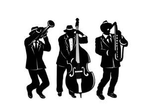 "Club Pack of 12 Black and White Mardi Gras Jazz Trio Silhouette Cutout Decors 18"""