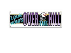 Club Pack of 12 Purple 'Look Who's Over the Hill' Sign Banner Party Decorations 5'